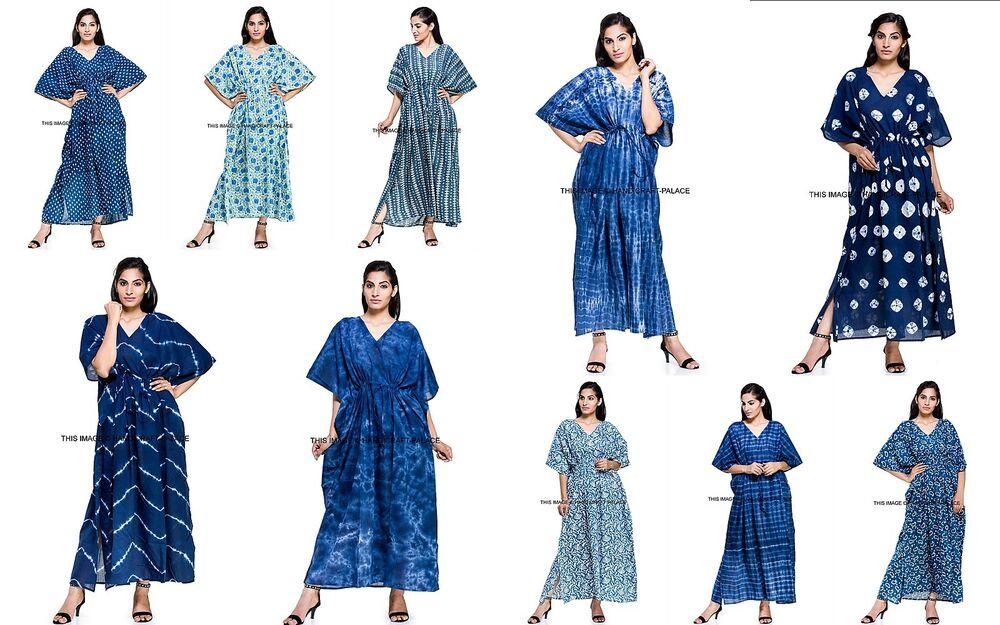 10 Pièces En Gros Lot De Caftan Femme Robe Caftan Bleu Indigo Plage Long Caftan