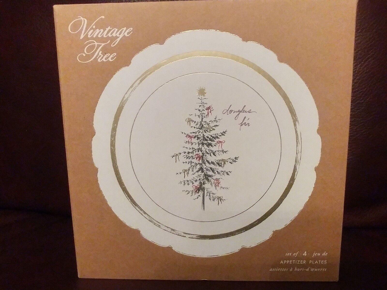 Set 8 Pottery Barn Vintage Tree Appetizer   Dessert   Salad Plates Christmas NIB