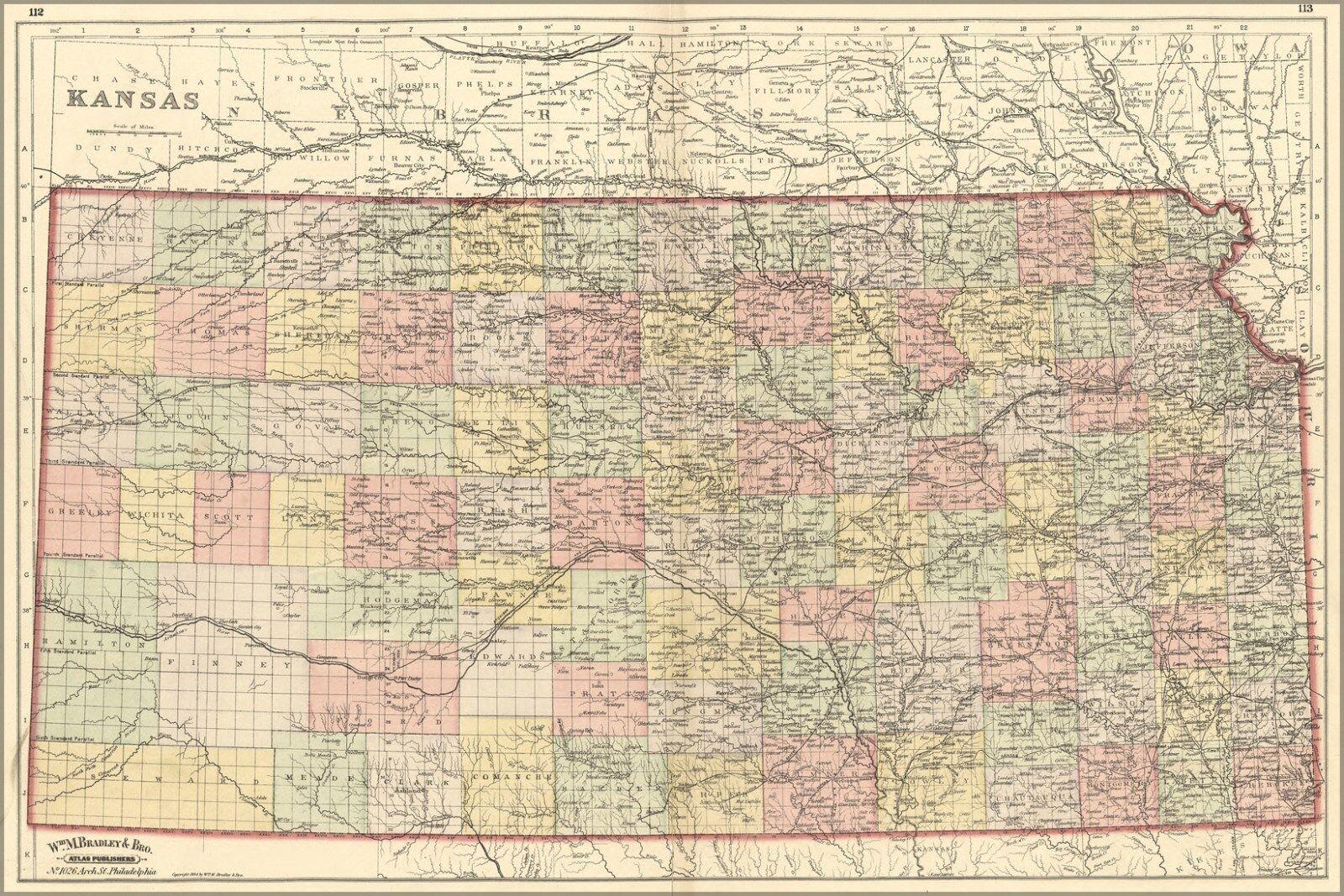 Poster, Many Größes; Map Of Kansas 1887