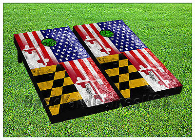 VINYL Maryland Flag US State CORNHOLE BEANBAG Boards 1027