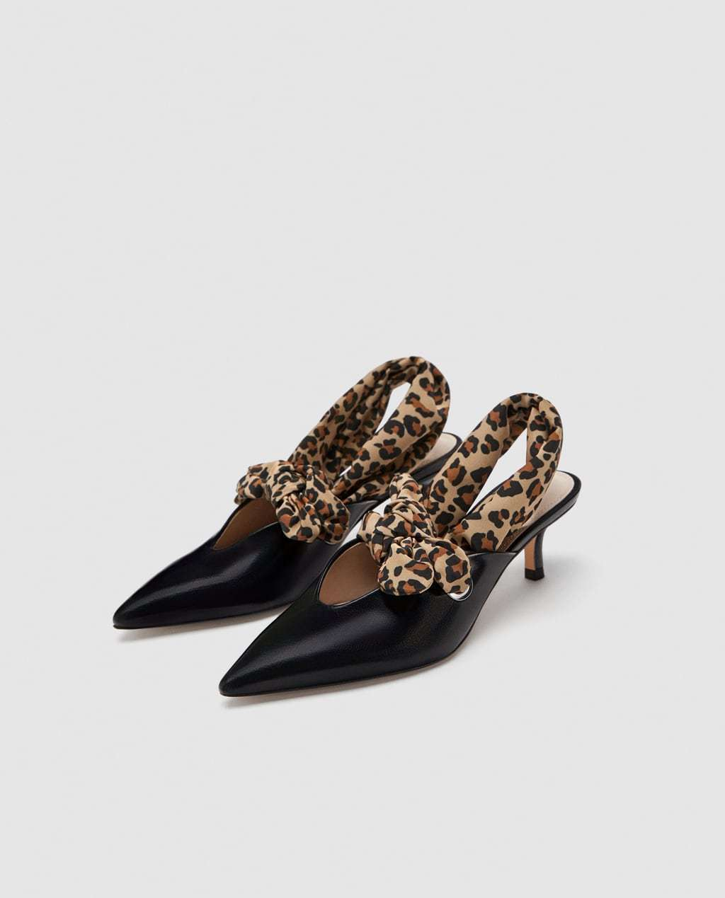 Pelle Gattino Dettaglio Zara Con Tacco Scarpe Corte Nera 1Ewgdwq