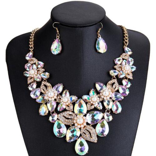 Fashion Women Bib Choker Crystal Pendant Statement Necklace Earrings Jewelry