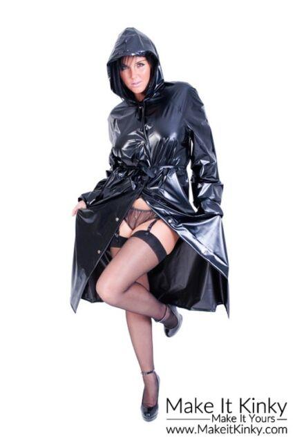 Fashion Mac Plastic PVC Clothing Rain Gear Coat PVCULIKE Jacket Wet Look Shiny