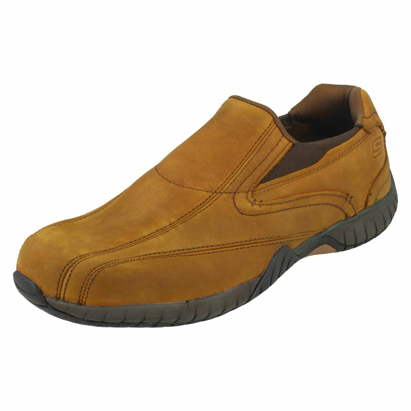 Mens Skechers 65287 Sendro-Bascom Brown Leather Casual Slip On Shoes