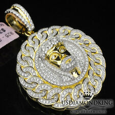 Men's Yellow Gold Over Sterling Silver Jesus Head Face Medallion Charm Pendant