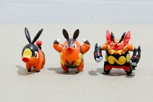 Pokemon-TOMY-Gen-5-1-to-2-034-Figure-Toy-Lot-3-Tepig-Pignite-Emboar