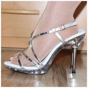 Pleaser-Sandaletten-Gr-40-US10-High-Heels-Excite-413-silberfarben-2196