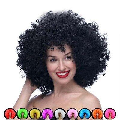 Nuovo Halloween Clown Ricci Afro Circo Vestito Capelli Parrucche