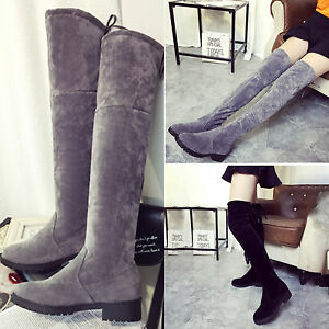 Women Fashion Faux Suede Over the Knee Thigh Flat Heel High Boots ...