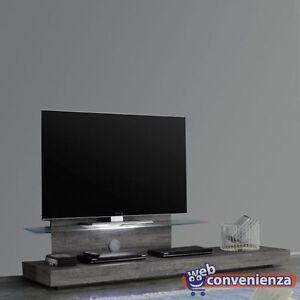 Porta Tv Lcd Vetro.Mobile Porta Tv Line Base Tv Legno Grigio Con Mensola In Vetro E