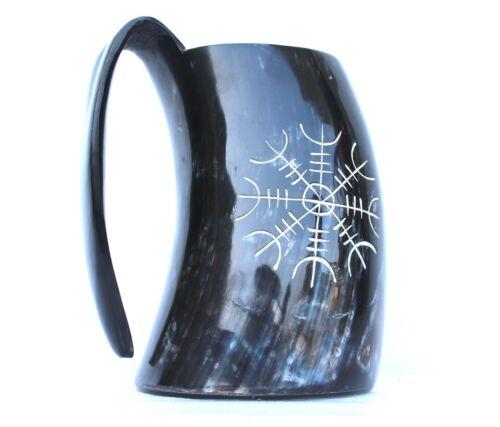 Viking Warrior/'s Helm of awe engraved Viking Drinking ale beer mead Mug Tankard