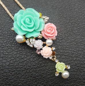 Betsey-Johnson-Multi-Color-Resin-Crystal-Rose-Flower-Pendant-Necklace-Brooch