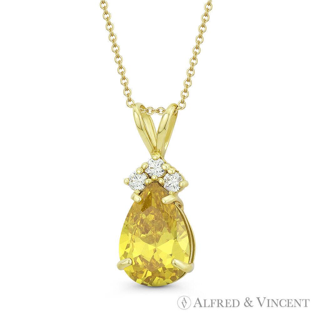 cd395bd689fec Yellow Citrine Faux Pear-Shaped Pendant 18x7mm gold Yellow 14k ...