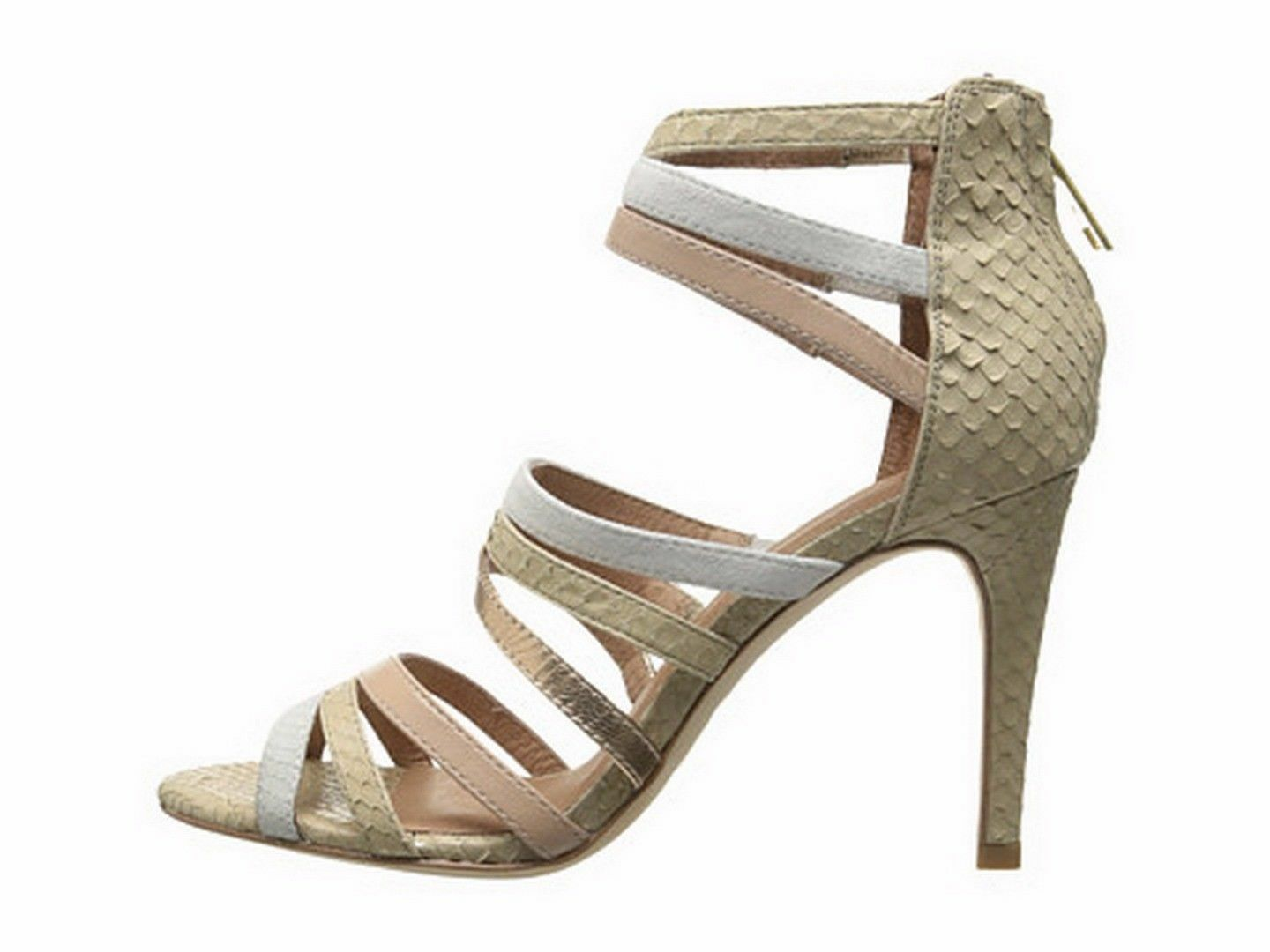 New New New JOIE ZEE Strappy Heeled Sandal 39.5 Nude Multi Embossed Leather  405 NIB 08f8d9