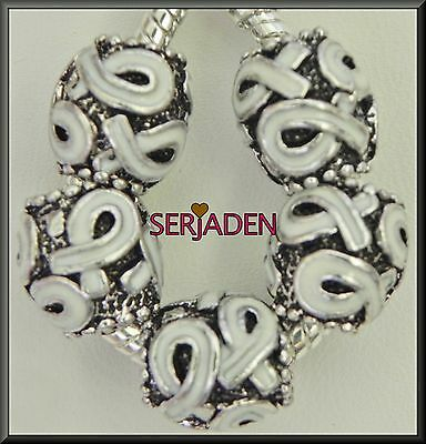 5 White Awareness Ribbon Silver Charm European Style 11 * 12 mm & 5 mm Hole S138