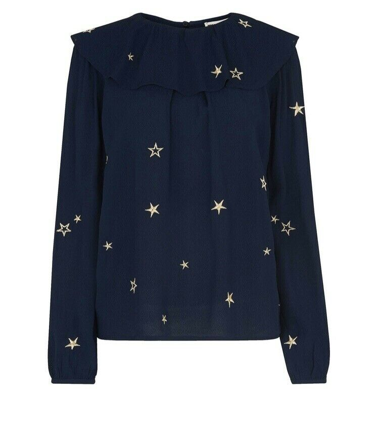 Whistles Navy Star Embroiderot Blouse Größe 6 BNWT