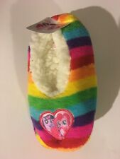 New  Fuzzy Babba Rainbow 1 PK GIRLS Sz M//L Slipper socks 9/'/' long X 4/'/' Wide