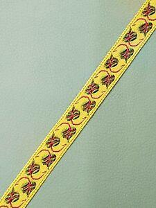 Vintage-Vestment-Sastreria-Galloon-Borde-Rojo-Verde-en-Oro-1-3cm-Ancho-5-Yrds