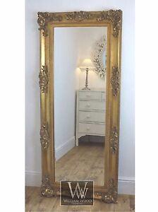 Georgina gold ornate leaner antique floor mirror 68 x 30 for Large gold floor mirror