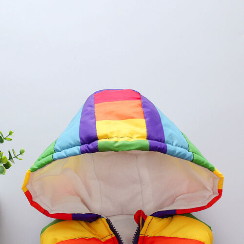 Kids Boys Girls Rainbow Gilet Hooded Light Vest Coat Bodywarmer Winter Jacket