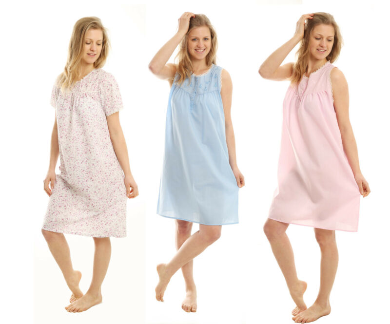 Ladies Short Sleeve Sleeveless Nightgown Nightdress Nightie Womens Nightwear