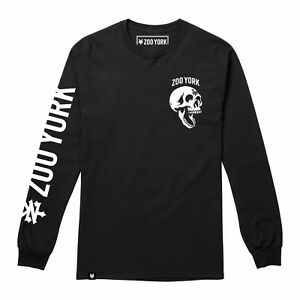 Mens-Zoo-York-Skeleton-Head-Skull-Long-Sleeve-Skate-T-Shirt-Tee-Black