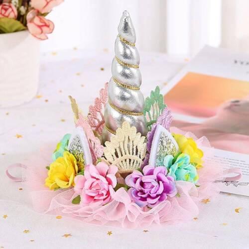 Kinder Einhorn Geburtstag Hut Blume Krone Stirnband Halloween Tiara cRUWK