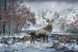 Hoffman-Call-of-the-Wild-Whitetail-Deer-Cotton-Fabric-Quilt-Panel-27-034-x-43-034