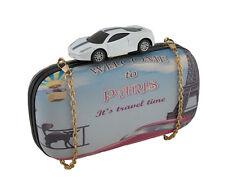Toy Sports Car Paris Themed Hard Shell Clutch Purse