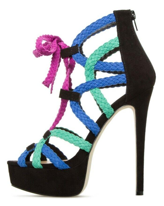 Mujer botas De Punta Abierta Plataforma Sandalias De Roma Tejido Tacones Altos Zapatos De Cremallera Trasera