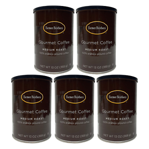 FARMER BROTHERS MEDIUM ROAST GROUND COFFEE 100% ARABICA 13 OZ/5 CANS