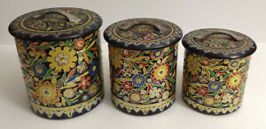 Details about VINTAGE DUTCH MADE IN HOLLAND COLORFUL FLORAL KITCHEN  CANISTERS CONTAINERS SET