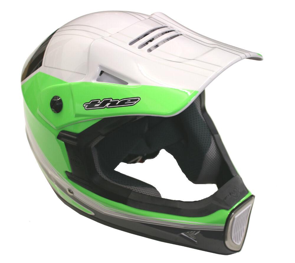 El Thirty casco completo de Mountain Bike Thirty El 3 Face Vtron Compuesto Blanco/Verde Mediano bf63d5