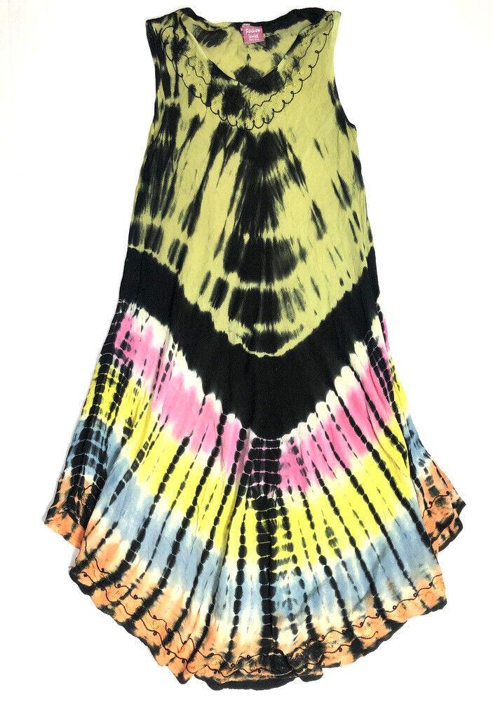 Fashion Terminal Woherren FREE Größe Dress S M L Boho Tie Dye Midi Long India L1