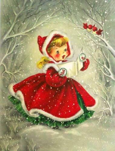 Little Christmas Girl CarolerRed Dress birds