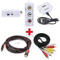 1080p HDMI to AV Video Converter HDMI Cable RCA Composite Audio Video DVD TV