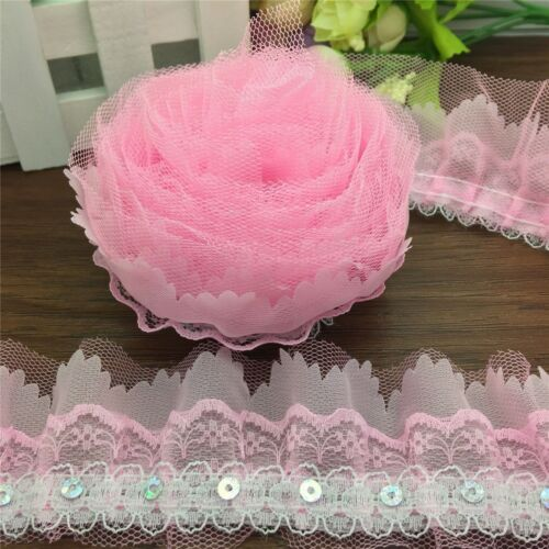 3 yards 4-Layer Pink//Hot Pink//Blue organza Lace Gathered Pleated sequined Trim