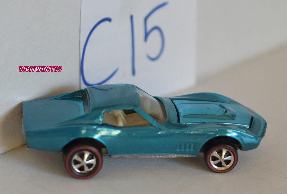 Hot Wheels rossoline 1968 su Misura Corvette Acqua Restaurato Loose W+