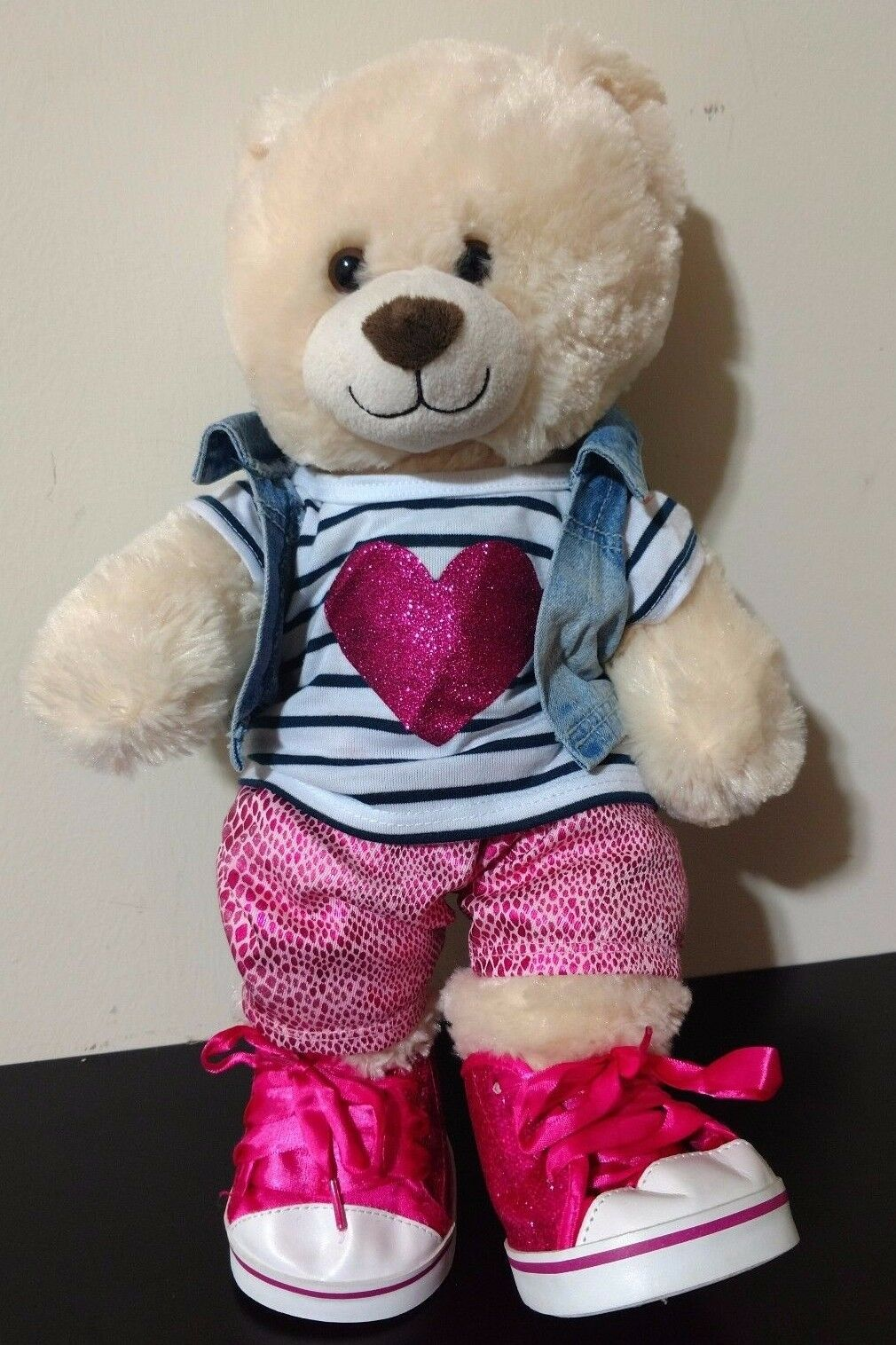 BAB Build a Bear 15  Lil' Almond Cub Plush Toy w Outfit Jean Vest & High Tops