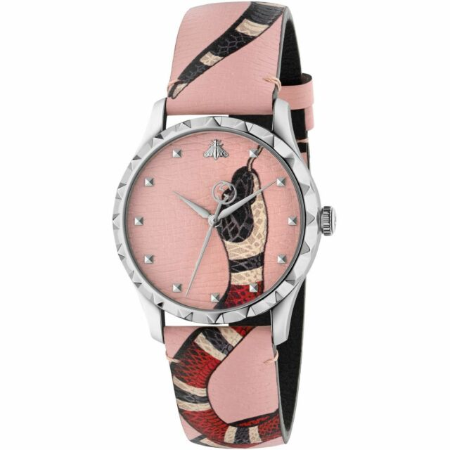 a61b5d2d71f Gucci YA1264083 G-timeless Pink Leather Snake 38mm Unisex Watch for ...