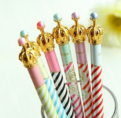 Crown gold with pearls gel ink Pen Cream Pink Blue Cute UK Blue Kids Gift