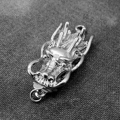 3 x Platinum Silver Tone Dragon Head Brass Box Clasps Single Strand 30mm x 14mm