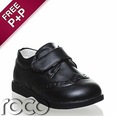 Baby Boys Matt Black Shoes, Boys Formal Shoes, Velcro Fastening, Flexible Sole
