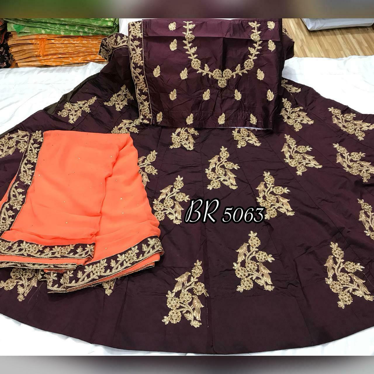 Silk lehnga silk blouse material all over wirk chiffon duptta with 4 side broder