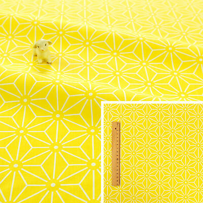 YELLOW WHITE Meter//Fat Quarter//FQ 100/% Cotton Fabric Quilting GEOMETRIC FLOWERS
