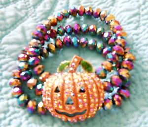Kirks-Folly-Starlight-Pumpkin-Stretch-Bracelet-Silvertone-Halloween