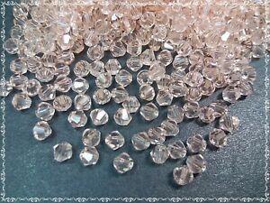 100 vidrio esmerilado perlas 3mm brillante salmón rosa bicone doppelkegel