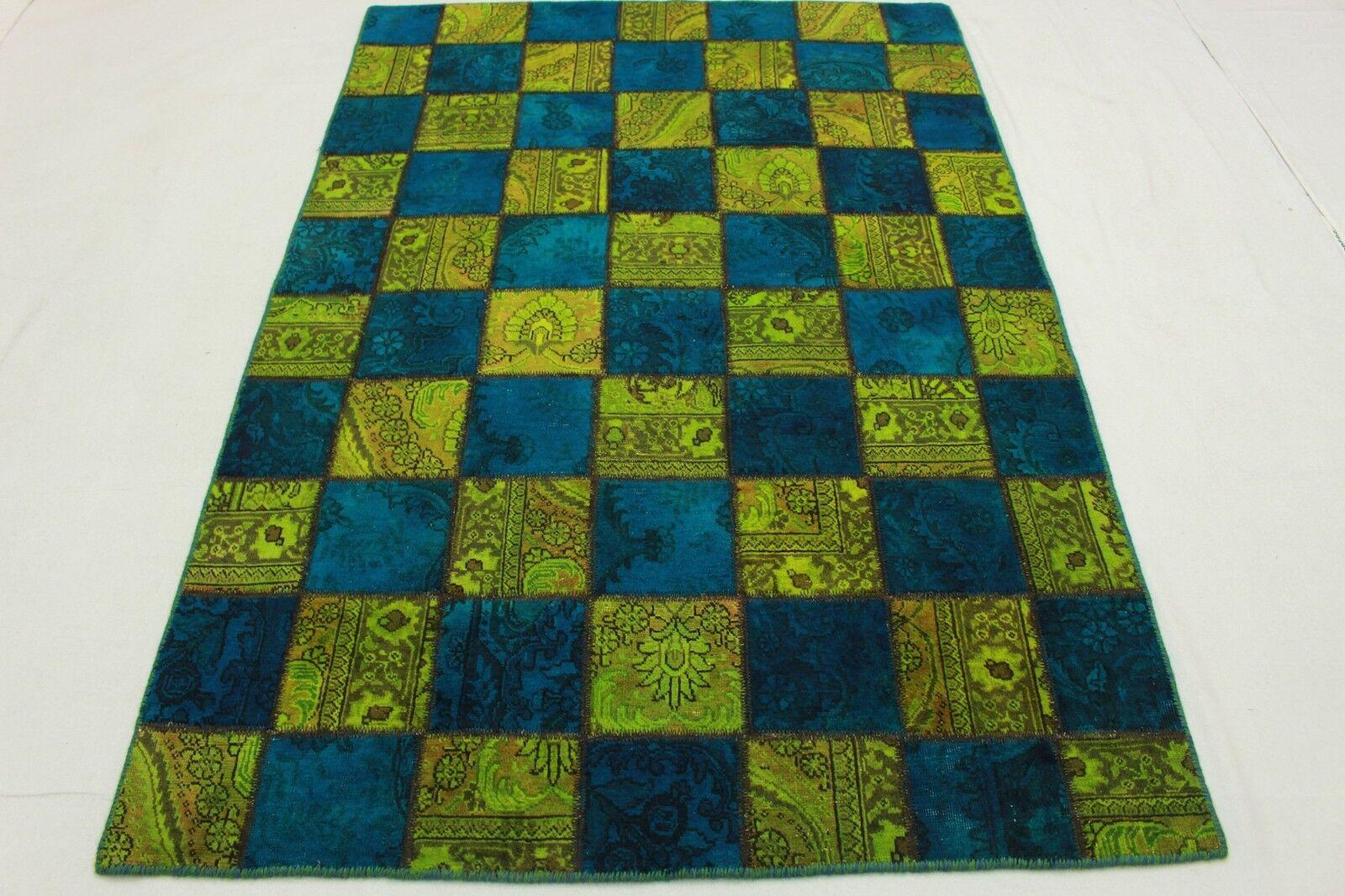 Vintage patchwork Orient alfombra 200x140 azul verde Modern tendencia look usado 1972