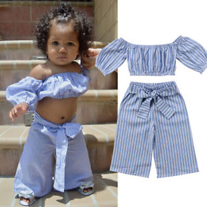 US-Fashion-Kid-Baby-Girl-Off-shoulder-Tops-Long-Pants-2PCS-Outfit-Clothes-Summer