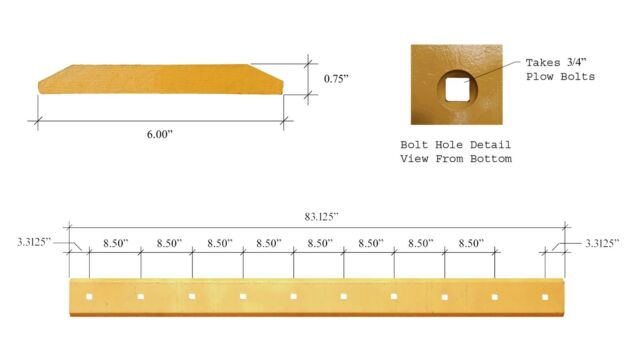112946a1 - Fits Case 580 Loader Buckets 10 Bolt Heat Treated Cutting Edge